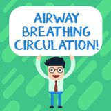 Handwriting text Airway Breathing Circulation. Concept meaning Memory aid for rescuers performing CPR Man Standing. Holding Above his Head Blank Rectangular vector illustration