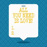Handwriting text All You Need Is Love. Concept meaning Deep affection needs appreciation roanalysisce. Handwriting text All You Need Is Love. Conceptual photo vector illustration