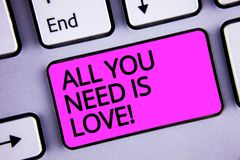 Handwriting text All You Need Is Love Motivational. Concept meaning Deep affection needs appreciation romance Keyboard purple key. Intention create text Royalty Free Stock Photography