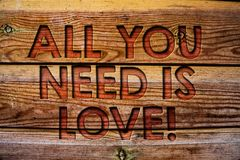 Handwriting text All You Need Is Love Motivational. Concept meaning Deep affection needs appreciation romance Wooden background vi. Ntage wood board wild message Royalty Free Stock Photography