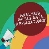 Handwriting text Analysis Of Big Data Applications. Concept meaning Information technologies modern apps Hu analysis Hand Holding. Megaphone Blank Round Color vector illustration