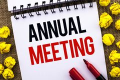 Handwriting text Annual Meeting. Concept meaning Yearly Company Assembly Business Conference Report Event written on Notebook Book. Handwriting text Annual royalty free stock image