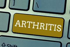 Handwriting text Arthritis. Concept meaning Disease causing painful inflammation and stiffness of the joints.  stock photo