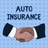 Handwriting text Auto Insurance. Concept meaning Protection against financial loss in case of accident Hand Shake. Handwriting text Auto Insurance. Conceptual royalty free illustration