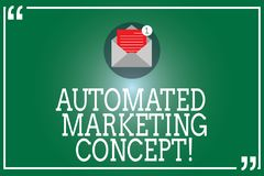 Handwriting text Automated Marketing Concept. Concept meaning automate repetitive tasks such as emails Open Envelope. With Paper New Email Message inside royalty free illustration