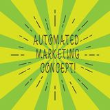 Handwriting text Automated Marketing Concept. Concept meaning automate repetitive tasks such as emails Thin Beam Lines Spreading. Out on Two Tone Sunburst stock photo