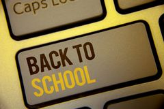 Handwriting text Back To School. Concept meaning Return to class first day of studies Classroom Arriving Text two Words written Co. Mputer Keyboard Left Shift stock photo