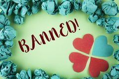 Handwriting text Banned Motivational Call. Concept meaning Ban on use of steroids, No excuse for building Muscles. written on plai. Handwriting text Banned royalty free stock photo