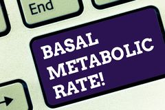 Handwriting text Basal Metabolic Rate. Concept meaning Minimum energy level require to sustain vital function Keyboard. Key Intention to create computer message royalty free stock images