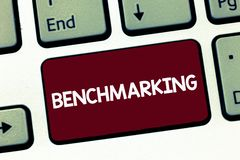 Handwriting text Benchmarking. Concept meaning Evaluate something by comparison with a standard Strategy.  royalty free stock image