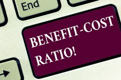 Handwriting text Benefit Cost Ratio. Concept meaning Relationship between the costs and benefits of project Keyboard key Intention. To create computer message stock photography