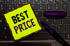 Handwriting text Best Price. Concept meaning Buyer or seller can obtain something for a product sold or buy Yellow paper keyboard. Inspiration communicate ideas stock photo