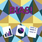 Handwriting text Bias. Concept meaning inclination or prejudice for or against one demonstrating group Presentation of. Handwriting text Bias. Conceptual photo royalty free illustration