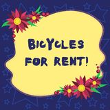 Handwriting text Bicycles For Rent. Concept meaning rents bikes for short periods of time usually few hours Blank Uneven. Color Shape with Flowers Border for vector illustration