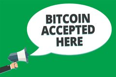 Handwriting text Bitcoin Accepted Here. Concept meaning you can purchase things through Cryptocurrencies Message idea information. Text public loud speaker Stock Images