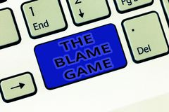 Handwriting text The Blame Game. Concept meaning A situation when people attempt to blame one another stock images