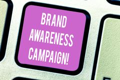 Handwriting text Brand Awareness Campaign. Concept meaning How aware consumers are with your products Keyboard key. Intention to create computer message royalty free stock image