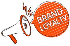 Handwriting text Brand Loyalty. Concept meaning Repeat Purchase Ambassador Patronage Favorite Trusted Megaphone loudspeaker orange. Speech bubble stripes royalty free illustration