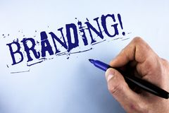 Handwriting text Branding Motivational Call. Concept meaning Creating a unique identity for new startup agencies written by Man on. Handwriting text Branding royalty free stock photo