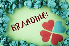 Handwriting text Branding Motivational Call. Concept meaning Creating a unique identity for new startup agencies written on plain. Handwriting text Branding royalty free stock images