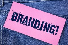 Handwriting text Branding Motivational Call. Concept meaning Creating a unique identity for new startup agencies written on Sticky. Handwriting text Branding Stock Photos