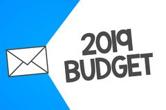 Handwriting text 2019 Budget. Concept meaning Business financial plan for new year Investments strategy.  vector illustration