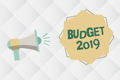 Handwriting text Budget 2019. Concept meaning New year estimate of incomes and expenses Financial Plan.  vector illustration