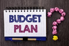 Handwriting text Budget Plan. Concept meaning Accounting Strategy Budgeting Financial Revenue Economics written on Notebook Book o. Handwriting text Budget Plan royalty free stock images
