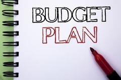 Handwriting text Budget Plan. Concept meaning Accounting Strategy Budgeting Financial Revenue Economics written on Notebook Book o. Handwriting text Budget Plan stock image