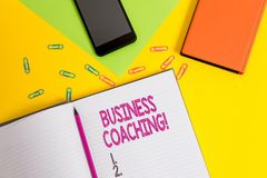 Handwriting text Business Coaching. Concept meaning Helping employees become more active Consulting an expert Blank. Handwriting text Business Coaching stock images