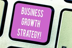 Handwriting text Business Growth Strategy. Concept meaning Larger market share Market penetration Acquisition Keyboard key. Intention to create computer message stock photo
