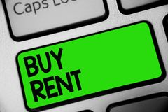 Handwriting text Buy Rent. Concept meaning choosing between purchasing something or paying for usage Keyboard green key Intention. Create computer computing Royalty Free Stock Photography