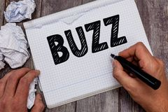 Handwriting text Buzz. Concept meaning Move quickly Atmosphere of excitement and activity Rumor Telephone call.  stock images