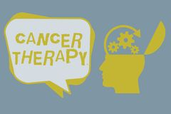 Handwriting text Cancer Therapy. Concept meaning Treatment of cancer in a patient with surgery Chemotherapy.  stock image