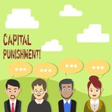 Handwriting text Capital Punishment. Concept meaning authorized killing of someone as punishment for a crime Group of royalty free illustration