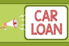 Handwriting text Car Loan. Concept meaning taking money from bank with big interest to buy new vehicle Man holding megaphone louds. Peaker speech bubble message Stock Image