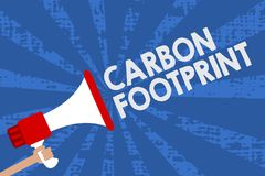 Handwriting text Carbon Footprint. Concept meaning amount of dioxide released atmosphere result of activities Man holding megaphon vector illustration