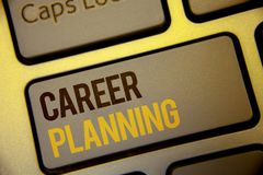 Handwriting text Career Planning. Concept meaning Professional Development Educational Strategy Job Growth Text two Words written. Computer Keyboard Left Shift royalty free stock images