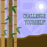 Handwriting text Challenge Yourself. Concept meaning Overcome Confidence Strong Encouragement Improvement Dare. Handwriting text Challenge Yourself. Conceptual royalty free illustration