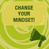 Handwriting text Change Your Mindset. Concept meaning fixed mental attitude or disposition demonstrating responses vector illustration