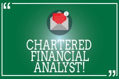 Handwriting text Chartered Financial Analyst. Concept meaning Investment and financial professionals Open Envelope with vector illustration