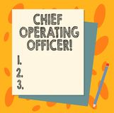 Handwriting text Chief Operating Officer. Concept meaning responsible for the daily operation of the company Stack of. Blank Different Pastel Color Construction stock illustration