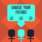 Handwriting text Choose Your Future. Concept meaning set plans for your career take courses study hard Blank Space Color stock illustration