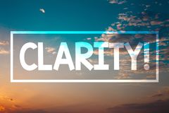 Handwriting text Clarity. Concept meaning Certainty Precision Purity Comprehensibility Transparency Accuracy Sunset blue beach ora. Nge cloudy clouds sky ideas stock photography