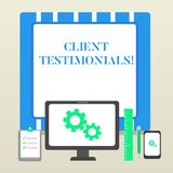 Handwriting text Client Testimonials. Concept meaning Written Declaration Certifying demonstratings Character Value. Handwriting text Client Testimonials royalty free illustration