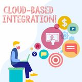 Handwriting text Cloud Based Integration. Concept meaning tools and technologies that connects applications Man Sitting. Handwriting text Cloud Based Integration stock illustration