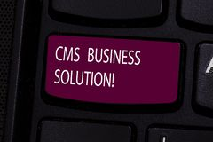 Handwriting text Cms Business Solution. Concept meaning software application use to create and analysisage website. Keyboard key Intention to create computer stock images