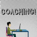 Handwriting text Coaching. Concept meaning Prepare Enlightened Cultivate Sharpening Encourage Strenghten Businessman. Handwriting text Coaching. Conceptual photo vector illustration