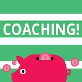 Handwriting text Coaching. Concept meaning Prepare Enlightened Cultivate Sharpening Encourage Strenghten Colorful Piggy. Handwriting text Coaching. Conceptual stock illustration