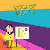 Handwriting text Code Of Ethics. Concept meaning basic guide for professional conduct and imposes duties Businessman. Handwriting text Code Of Ethics. Conceptual royalty free illustration